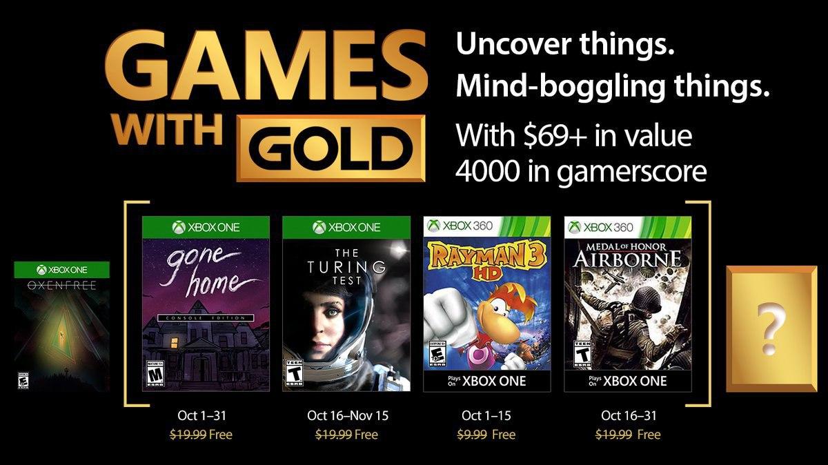 Anunciados los Games With Gold para octubre